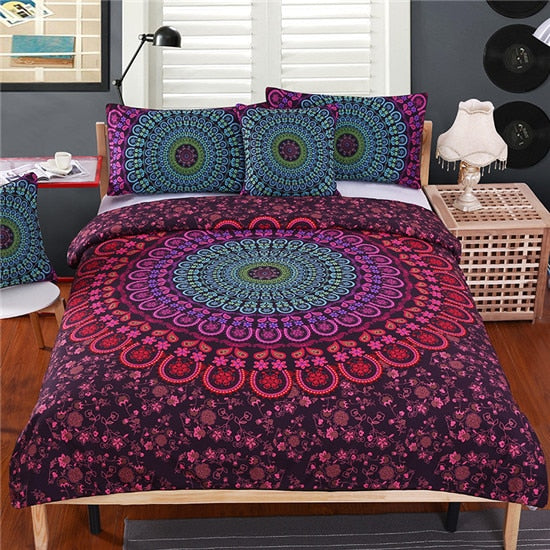Dropshipful Mandala Bedding Set Queen Soft Bedclothes Twill Bohemian Print Duvet Cover Set with Pillowcases 4pcs Bed Set Home - Dropshipful.com