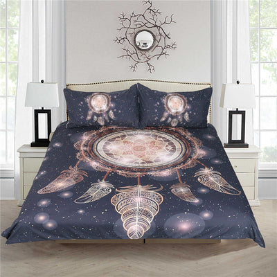 Dropshipful Bohemian Dreamcatcher Bedding Set  Galaxy Golden 3d Duvet Cover 3pcs - Dropshipful.com