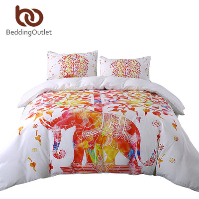 Dropshipful White And Red Bedding Set Boho Duvet Cover and Pillowcase Indian Elephant Print Exotic Bedclothes Queen Sizes Hot - Dropshipful.com