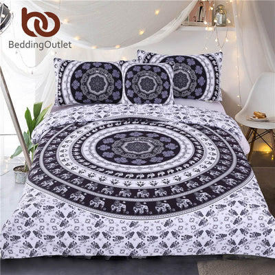 Dropshipful Vanitas Bedding Set Queen Size Bohemia Modern Duvet Cover Set Indian Black and White Printed Quilt Cover 4Pcs Hot - Dropshipful.com