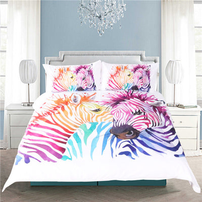 Dropshipful Safari Zebra Bedding Set Printed Duvet Cover Set Colored Animal Bed Cover Pillow Case Twin Full Queen King Home - Dropshipful.com