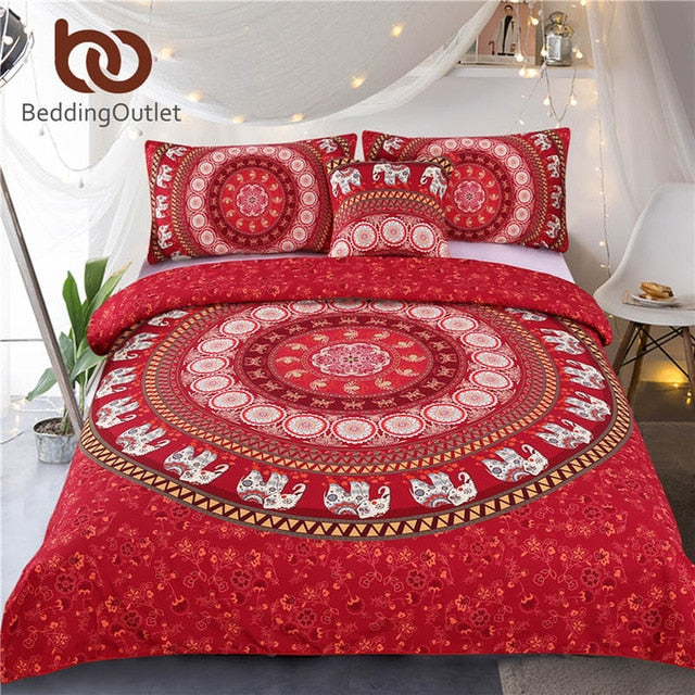 Dropshipful Red Mandala Bedding Set Elephant Indian Duvet Cover wiith Pillowcases Soft Moroccan Bedclothes 4Pcs Wholesale - Dropshipful.com