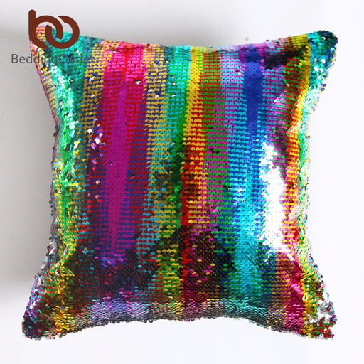 Dropshipful DIY Mermaid Sequin Cushion Cover Magical Pink Throw Pillowcase 40cmX40cm Color Changing Reversible Pillow Case - Dropshipful.com