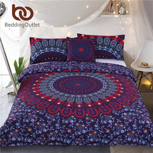 Dropshipful Mandala Bedding Set Queen Size Purple Concealed Bohemian Bedspread Duvet Cover Set 4Pcs Boho Home Textiles Fashion - Dropshipful.com