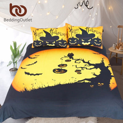 Dropshipful Happy Halloween Tree Kids Bedding Set Bat Pumpkin Quilt Cover Festival Bedding Collection Bedspread Queen Size - Dropshipful.com