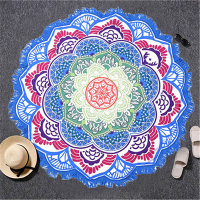 Tassel Indian Toalla Mandala Tapestry Beach Towel Sunblock Round Bikini Cover-Up Blanket Lotus Bohemian - Dropshipful.com
