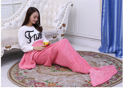 Mermaid Throw Blanket Handmade Mermaid Tail Blanket for Adult Kid Multi Colors 3 Size - Dropshipful.com