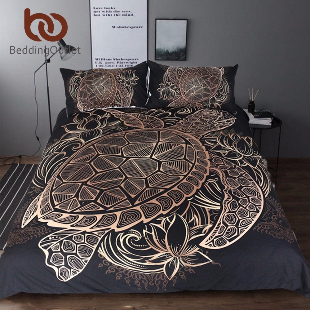 Dropshipful Turtles Bedding Set Duvet Animal Golden Tortoise Bed Cover Set King Sizes Flowers Lotus Home Textiles 3pcs Luxury - Dropshipful.com