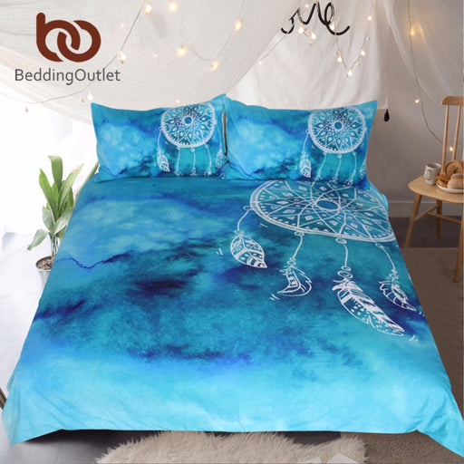 Dropshipful Watercolor Dreamcatcher Bedding Set King Blue Bedclothes for Adult Kids Luxury Chinese Style Quilt Cover 3 Pcs - Dropshipful.com