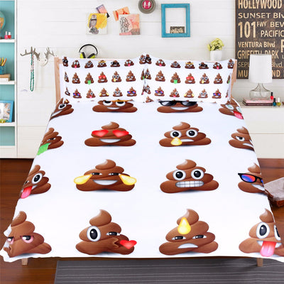 Dropship Poop Emoji Bedding Set Funny Smiley Faces With Pillowcases 3pcs Cartoon Duvet Cover Set - Dropshipful.com