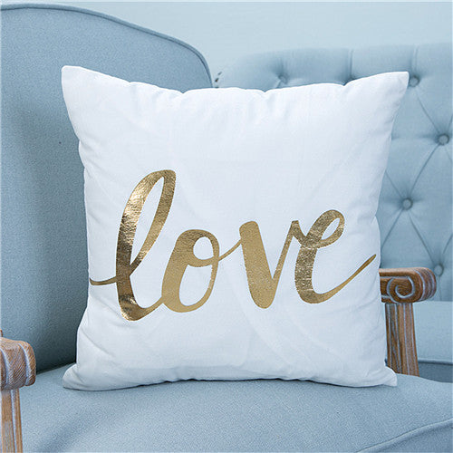 Bronzing Christmas Cushion Cover Gold Printed Pillow Cover Decorative Pillow Case - Dropshipful.com