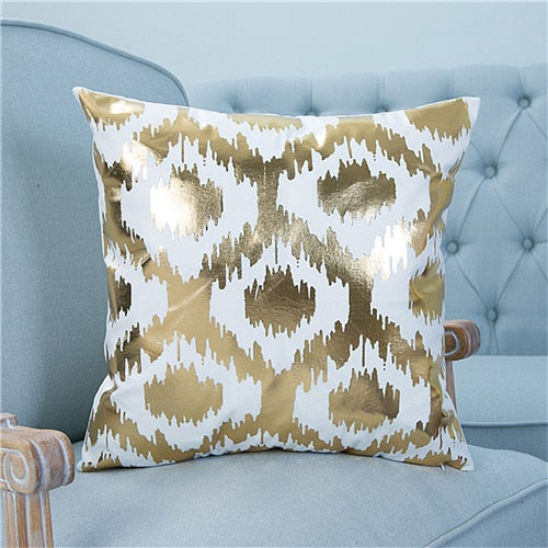 Dropshipful Bronzing Christmas Cushion Cover Gold Printed Pillow Cover Decorative Pillow Case Sofa Seat Car Pillowcase Soft - Dropshipful.com
