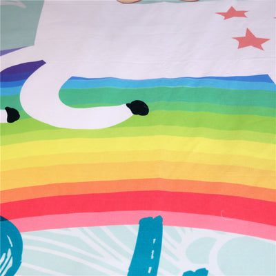 Dropship Unicorn Rainbow Bedding Set Animal Cartoon  Duvet Cover for Kids Girls 3pcs - Dropshipful.com