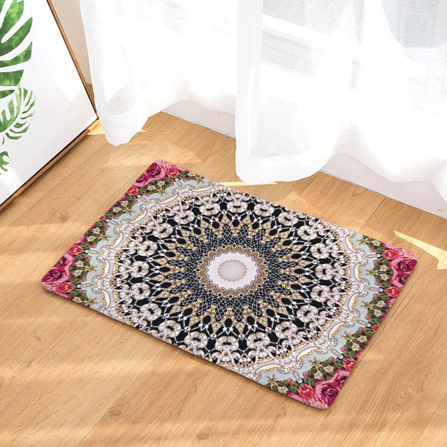 Dropshipful Mandala Print Carpet Soft Rug Non-slip Boho Floor Mat Absorbent Colorful Doormat For Bedroom Kitchen Door 2 Sizes - Dropshipful.com