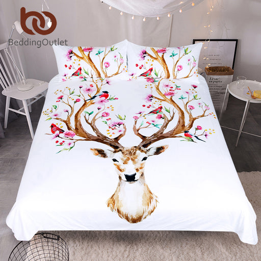 Dropshipful Elk Bedding Set Queen Floral Moose Duvet Cover Animal Reindeer Bedspreads for Kids Deer Bedspread Bed Set 3pcs - Dropshipful.com