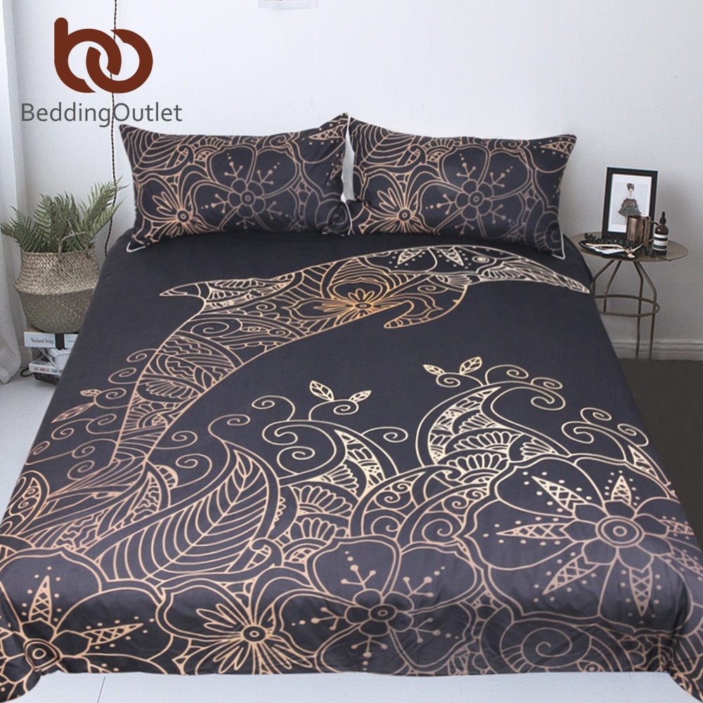Dropshipful Golden Dolphin Bedding Set Queen King Bohemian Duvet Cover Plum Flower Bed Set Animal Print Bedclothes 3pcs - Dropshipful.com