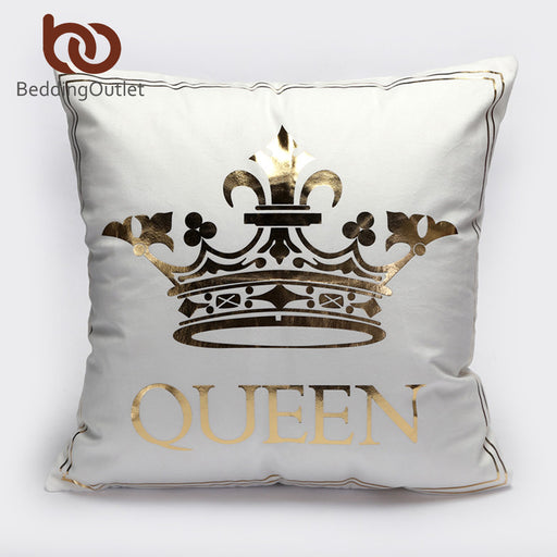 Dropshipful Bronzing Cushion Cover Gold Printed King Queen Pillow Cover Decorative Pillow Case Sofa Seat Car Pillowcase - Dropshipful.com