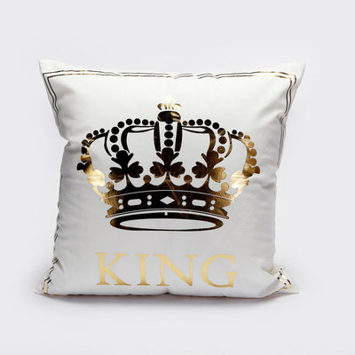 Bronzing Cushion Cover Gold Printed King Queen Pillow Cover Decorative Pillow Case - Dropshipful.com
