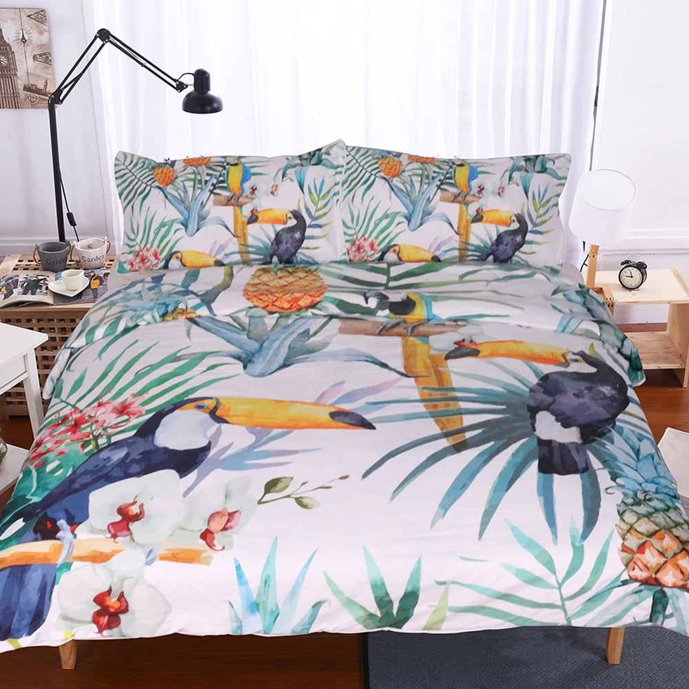 Dropshipful 3Pcs Toucan Duvet Cover With Pillowcase Tropical Plant Pineapple Bedding Set - Dropshipful.com