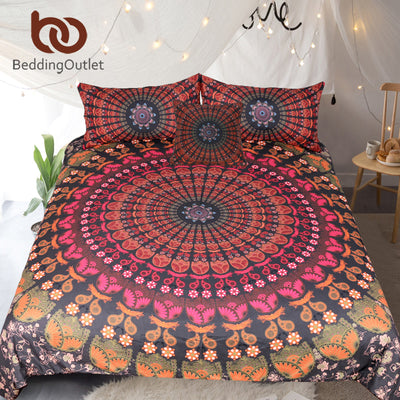 Dropshipful Mandala Floral Bedding Set Concealed Bedspread Boho Bedlinen Bohemia Duvet Cover Set 4Pcs Twin Full Queen King - Dropshipful.com