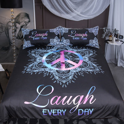 Dropship Mandala Peace Symbol Bedding Set Lotus Romantic Duvet Cover Set  3pcs - Dropshipful.com