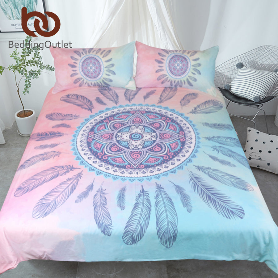 Dropshipful Mandala Bedding Set Pink and Blue Duvet Cover With Pillowcases Feathers Bed Set Bohemian Printed Bedclothes 3pcs - Dropshipful.com