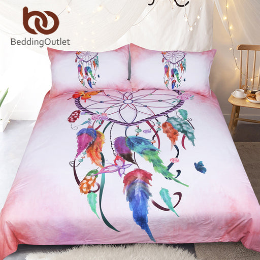 Dropshipful Heart Dreamcatcher Bedding Set Pink and Sky Blue Duvet Cover Watercolor Feather Bed Set Soft Microfiber Bedclothes - Dropshipful.com