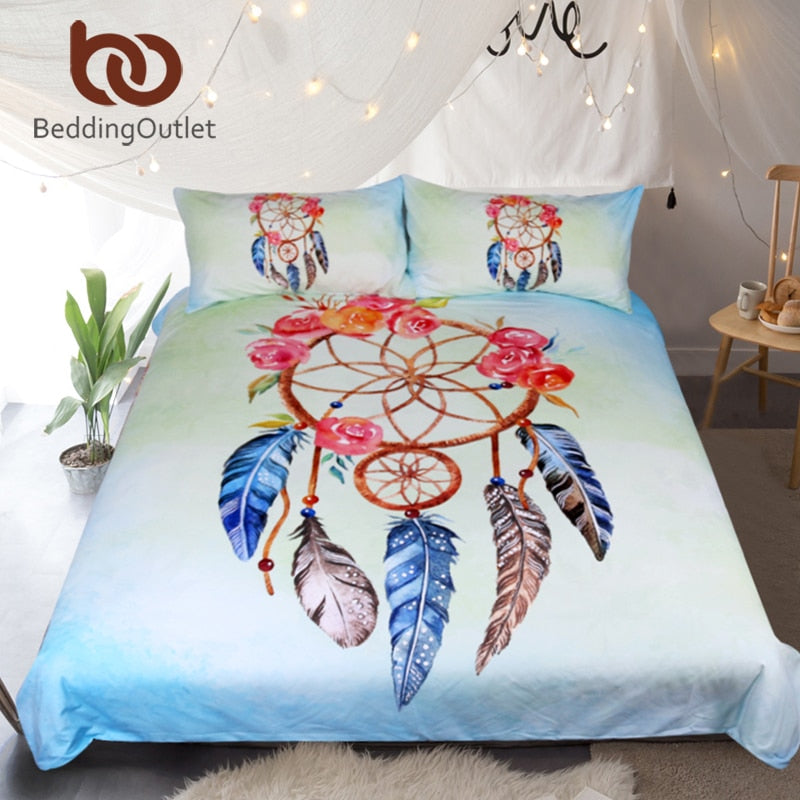 Dropshipful Dreamcatcher Bedding Set Queen Floral Rose Quilt Cover With Pillowcases Feathers Print Bedclothes Blue Bed Set - Dropshipful.com