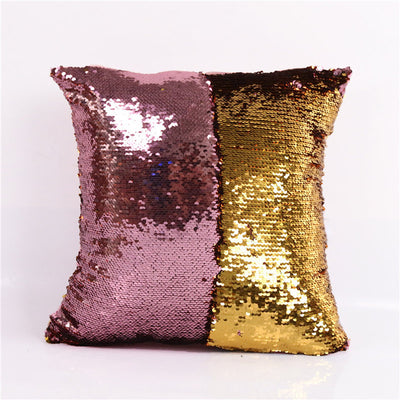 DIY Mermaid Sequin Cushion Cover Magical Pink Throw Pillowcase 40cmX40cm Color Changing Reversible Pillow Case - Dropshipful.com