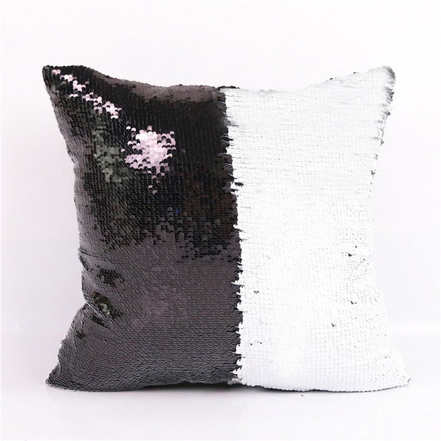 Dropshipful Mermaid Sequin Cushion Cover Golden Smile Decorative Pillowcases Wholesale Solid Pillow 40cmX40cm Fashion - Dropshipful.com