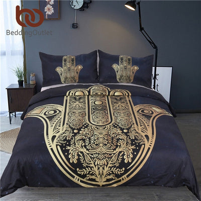 Dropshipful Mandala Elephant Duvet Cover With Pillowcase Black Golden Bedding Set Queen Size Boho Bed Set Quilt Cover - Dropshipful.com