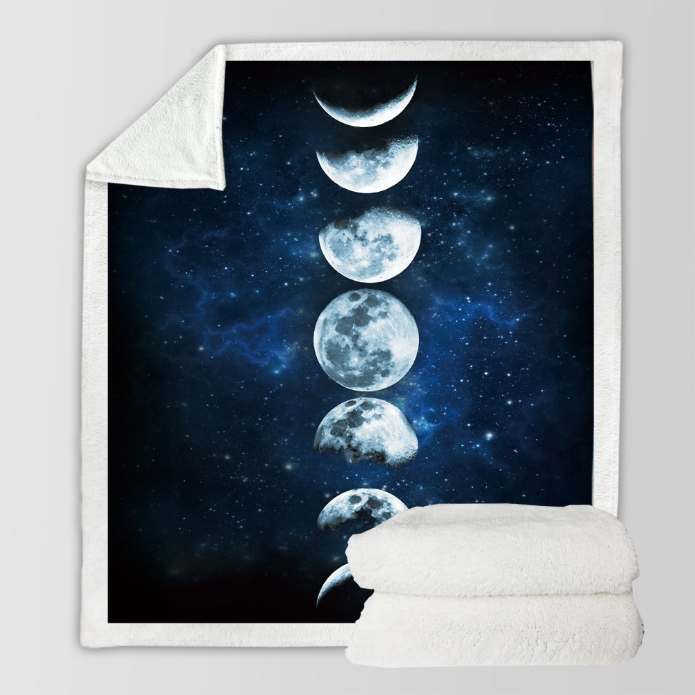 Moon Eclipse Changing Velvet Plush Throw Blanket Galaxy Sherpa Blanket for Couch Landscape Bedding - Dropshipful.com