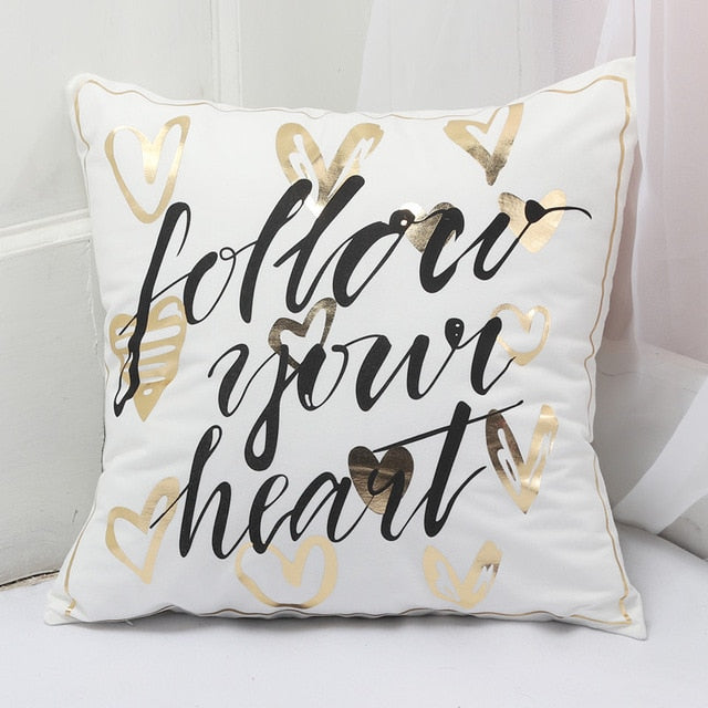 Dropshipful Bronzing Cushion Cover Gold Printed Black and White Pillow Cover Decorative Pillow Case Sofa Golden Pillowcases - Dropshipful.com