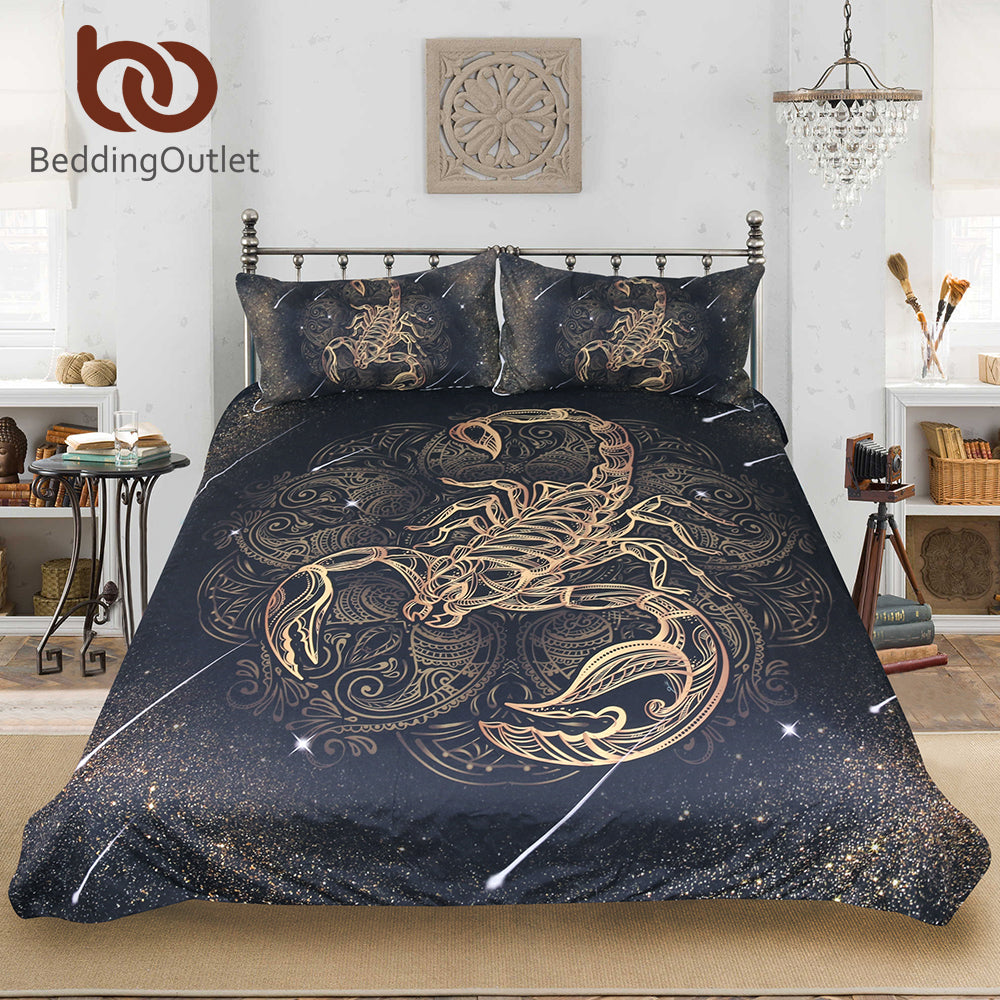 Dropshipful Gold Scorpion Bedding Set Queen Meteor Scorpio Duvet Cover Constellation Bed Set Bohemian Print Black Bedclothes - Dropshipful.com