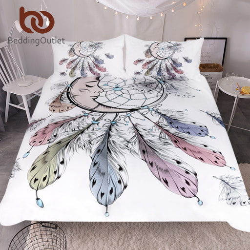 Dropshipful Moon Dreamcatcher Bedding Set Queen Size Feathers Duvet Cover White Bed Set Beautiful Bedclothes 3pcs - Dropshipful.com