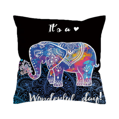 Mandala Colorful Elephant Cushion Cover Boho Printed Pillow Case Indian Exotic Throw Cover Bohemian - Dropshipful.com