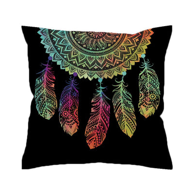 Dreamcatcher Cushion Cover Colorful Feathers Pillow Case Bohemian Mandala Throw Cover - Dropshipful.com