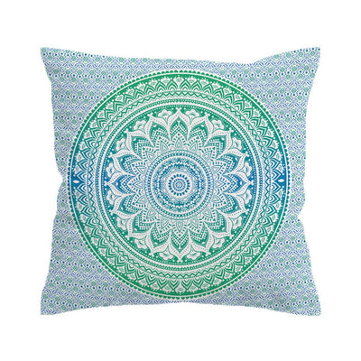 Blue and Green Mandala Flower Cushion Cover Pillow Case Bohemia Throw Cover - Dropshipful.com