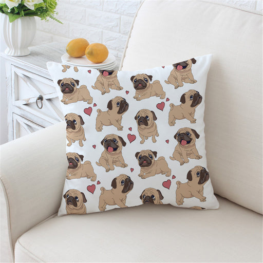 Hippie Pug Cushion Cover Animal Cartoon Pillow Case For Kids Cute Bulldog Throw Cover Home Decor - Dropshipful.com