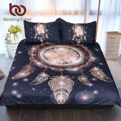 Dropshipful Dreamcatcher Bedding Set Twin Full Queen King Galaxy Golden Print Bohemian Bedclothes 3d Duvet Cover 3pcs Luxury - Dropshipful.com