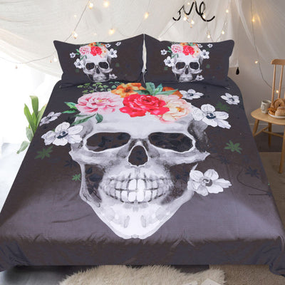 Dropshipful Sugar Skull Duvet Cover Set 3pcs White and Black Floral Bedclothes Flowers Bedding Set Queen Gothic Home Textiles - Dropshipful.com