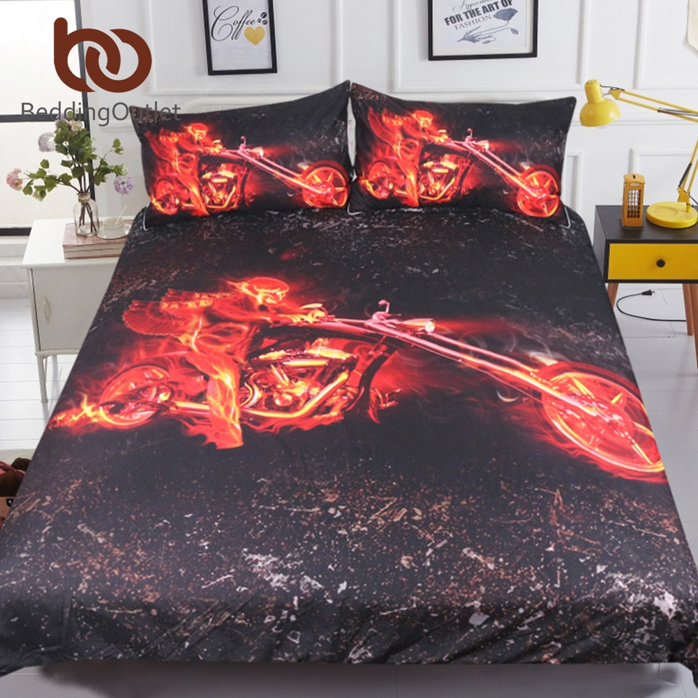 Dropshipful Flame Motorcycle Bedding Set Queen 3D Printed Duvet Cover Red And Black Bedclothes 3pcs Engine Bedspreads For Boys - Dropshipful.com