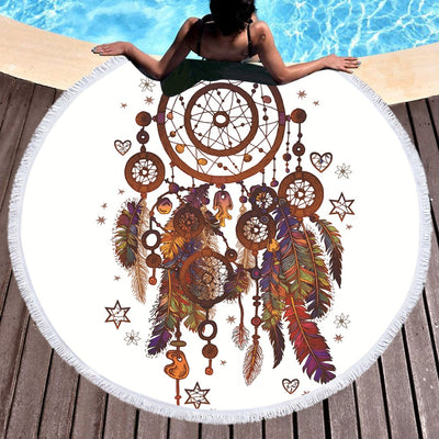 Hipster Dreamcatcher Watercolor Tassel Mandala Tapestry Round Beach Towel  150cm - Dropshipful.com