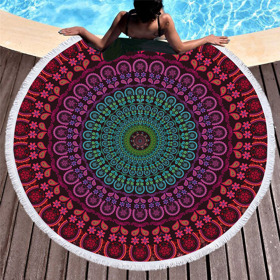 Mandala Tassel Tapestry Boho Round Beach Towel Purple Indian Toalla Sunblock Blanket 150cm - Dropshipful.com