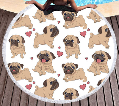 Hipster Pug Tassel Tapestry Cartoon Round Beach Towel Animal Bikini Cover-Up 150cm - Dropshipful.com