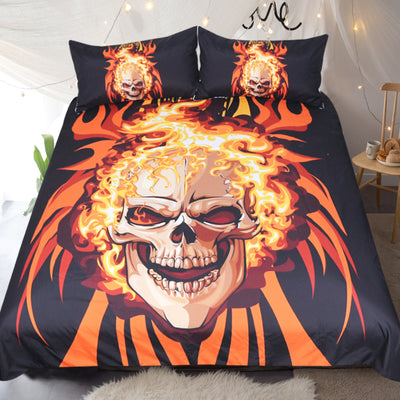 Dropship Angry Skull Bedding Set  Flame Fire Duvet Cover Orange Cartoon 3pcs - Dropshipful.com