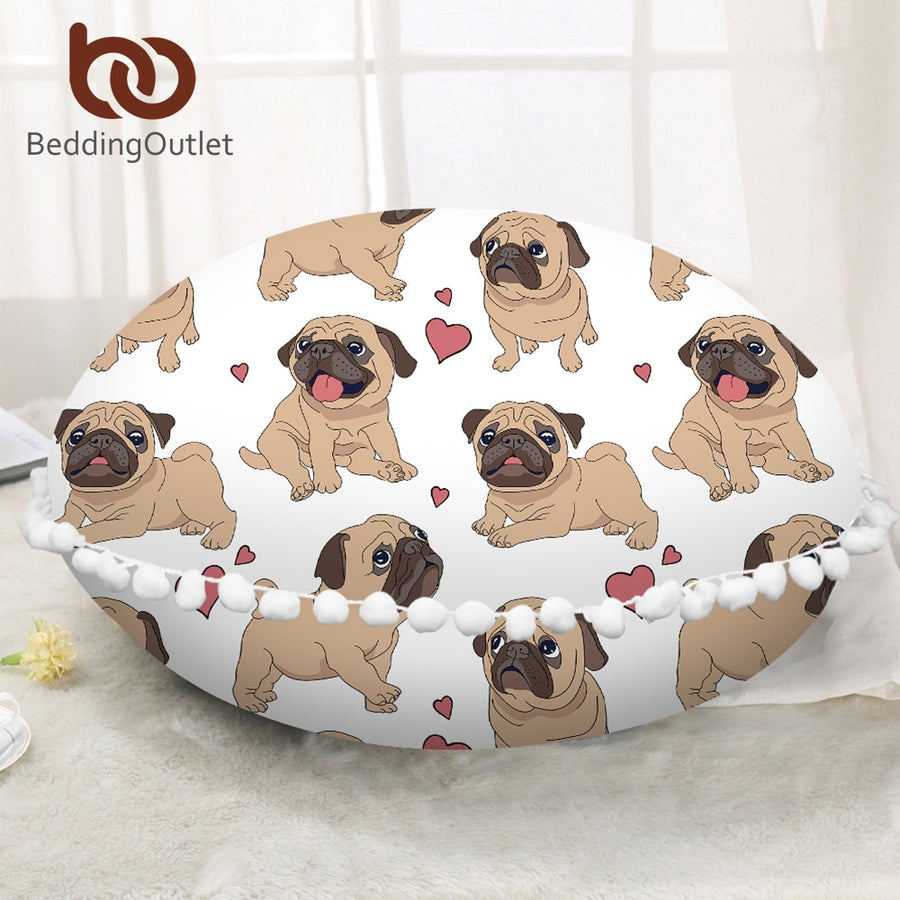 Dropshipful Hippie Pug Round Floor Pillow Case Animal Cartoon Pompom Cushion Cover Poufs Meditation Decorative Pillowcase - Dropshipful.com