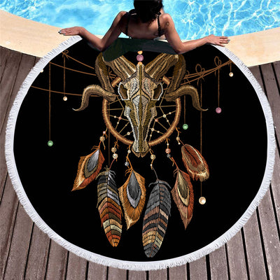 Indian Skull Round Beach Towel Dreamcatcher Tassel Tapestry Yoga Mat Feathers  150cm - Dropshipful.com