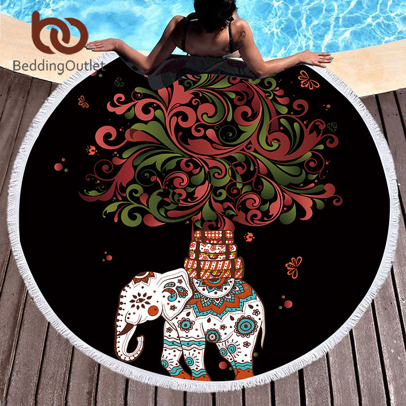 Dropshipful Boho Round Beach Towel Indian Tassel Mandala Tapestry Yoga Mat Elephant and Tree Printed Toalla Blanket 150cm - Dropshipful.com