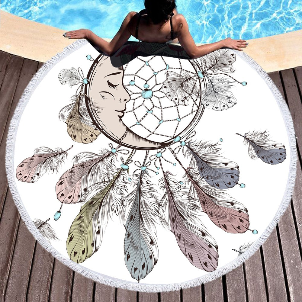 Moon and Dreamcatcher Tassel Mandala Tapestry Bohemian Round Beach Towel Toalla150cm - Dropshipful.com